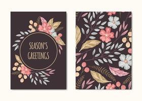 Coleção de cartão de saudações de temporadas vetor