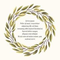 Quadro de folhas verdes-03 vetor
