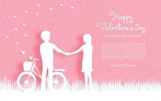 Cartão de dia dos namorados com casal fofo vetor