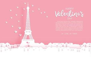Saudação do dia dos namorados da torre Eiffel vetor