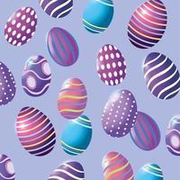 Feliz Páscoa ovos de Páscoa com figuras fundo de decoração vetor