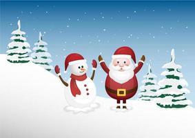 Feliz Papai Noel e um boneco de neve bonito na floresta de inverno vetor