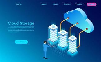 Tecnologia de armazenamento em nuvem e conceito de rede