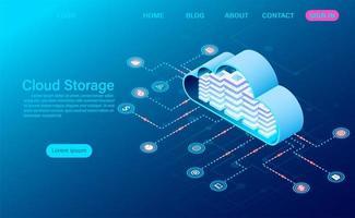 Tecnologia de armazenamento em nuvem e conceito de rede vetor