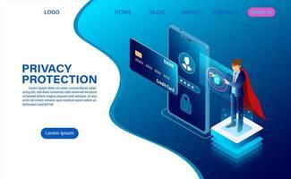 Página de destino de proteção e segurança de privacidade