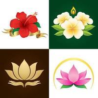 Flores asiáticas tradicionais vetor