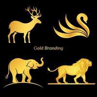 Conjunto de logotipo animal ouro vetor