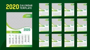 Modelo de calendário verde 2020 vetor