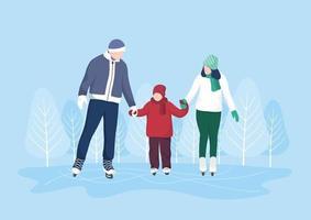 Família patinação no gelo em superfícies de gelo