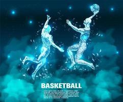 Jogador de basquete abstrato tecnologia vetor