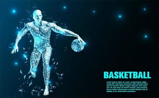 Jogador de basquete abstrato tecnologia fundo vetor