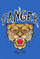 Slogan de perigo com cabeça de tigre vetor