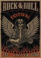 Poster vintage de cor sobre o tema do rock and roll com esqueleto