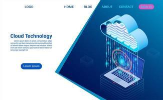 Tecnologia moderna de nuvem e conceito de rede vetor