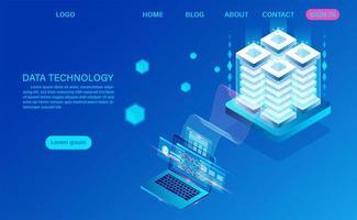 Tecnologia de dados e processamento de big data vetor