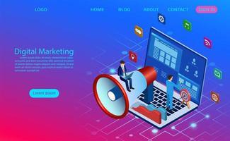 Conceito de marketing digital para a página inicial do banner e site vetor