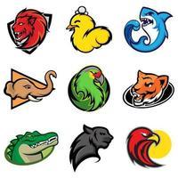 Equipe de eSports e logotipos de animais de jogo