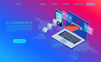 Comércio eletrônico de compras on-line com a página inicial do computador