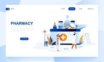 Modelo de página de destino de farmácia com cabeçalho
