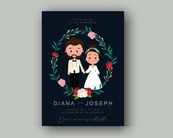 Convite de casamento com noiva, noivo e coroa de flores vetor