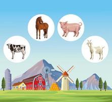 desenhos animados de animais de fazenda