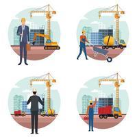 conjunto de desenhos animados de engenheiro de construção