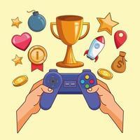 mãos usando videogame gamepad vetor