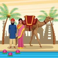 Desenhos animados de pessoas étnicas indianas na cidade vetor