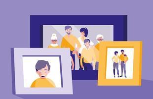 retrato com imagens de membros da família vetor