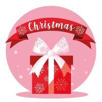 caixa de presente de feliz Natal com fita vetor
