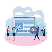 pesquisa de dados de trabalho em equipe vetor