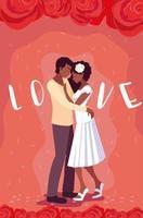 jovem casal afro em cartaz de amor com decoração de rosas vetor