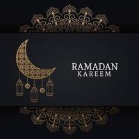 Ramadan Kareem com lua minguante e arte islâmica vetor