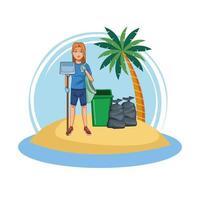 Praia voluntária da limpeza da mulher vetor