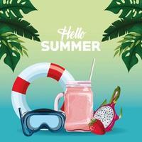 Olá desenhos animados de cartão de cartaz de verão vetor