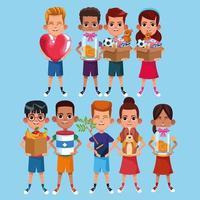 Crianças e conjunto de desenhos animados de caridade vetor