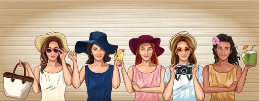 Pop art moda modelos mulheres desenhos animados vetor