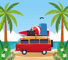 Verão e férias em van vintage vetor