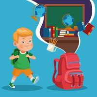 Volta para escola crianças desenhos animados