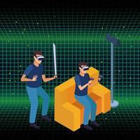 Casal brincando com realidade virtual vetor