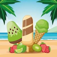 picolé e sorvete com frutas vetor