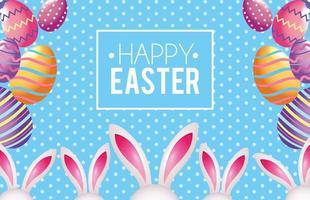 Emblema de feliz Páscoa com decoração de ovos de Páscoa e coelho vetor