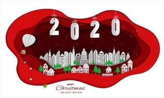 Projeto de arte de papel de feliz ano novo 2020 com cidade branca vetor
