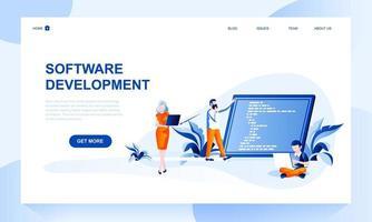 Página de destino do vetor de desenvolvimento de software