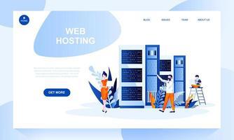 Modelo de página de destino de vetor de hospedagem na Web com cabeçalho