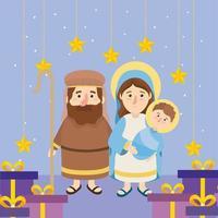 José e Maria com Jesus e estrelas com presentes