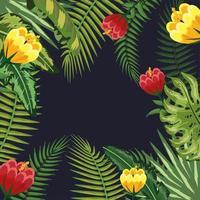 ramos folhas plantas e flores fundo vetor