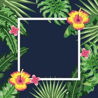 moldura quadrada com fundo de flores e plantas