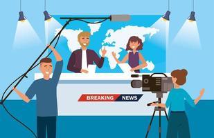 repórter homem e mulher da notícia com camerawoman e filmadora vetor