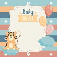 cartão de animal tigre com balões e nuvens vetor